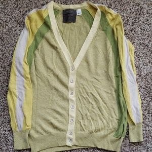 Anthro green and yellow wool cardigan